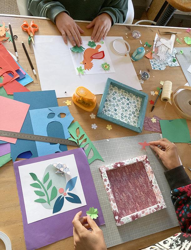 Atelier encadrement et illustration en papier découpé